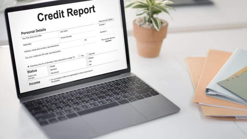 credit report on a laptop