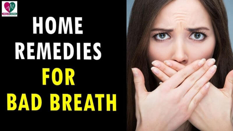 home remedies for bad breath and a woman with her hands on her mouth