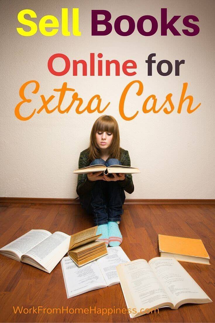 sell books online for extra cash and a lady seated on the floor with books