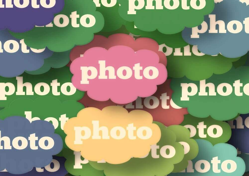 the word photo in different colours
