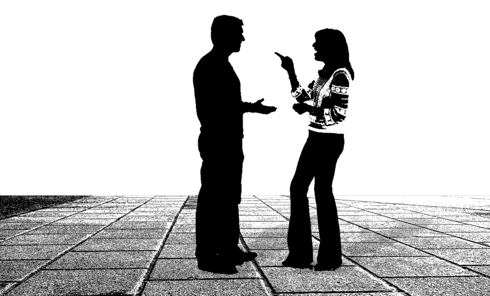 shadows of a man and woman talking to each other