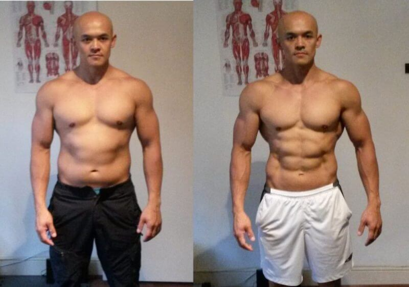 body builder showing before and after