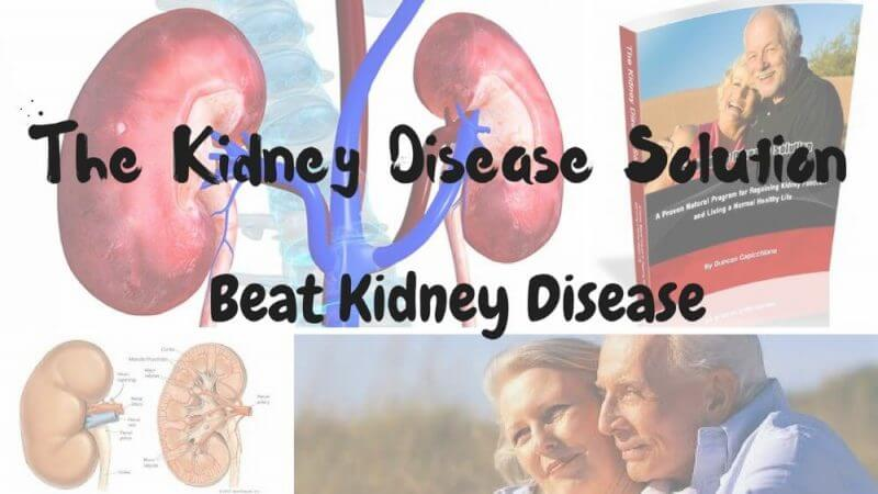 the kidney disease solution beat kidney disease on a background with kidney pictures and couple