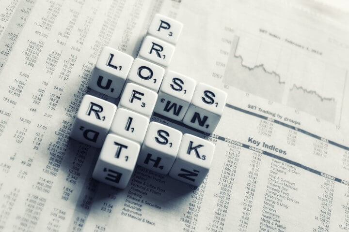 white letter dices forming the words profit, loss and risk