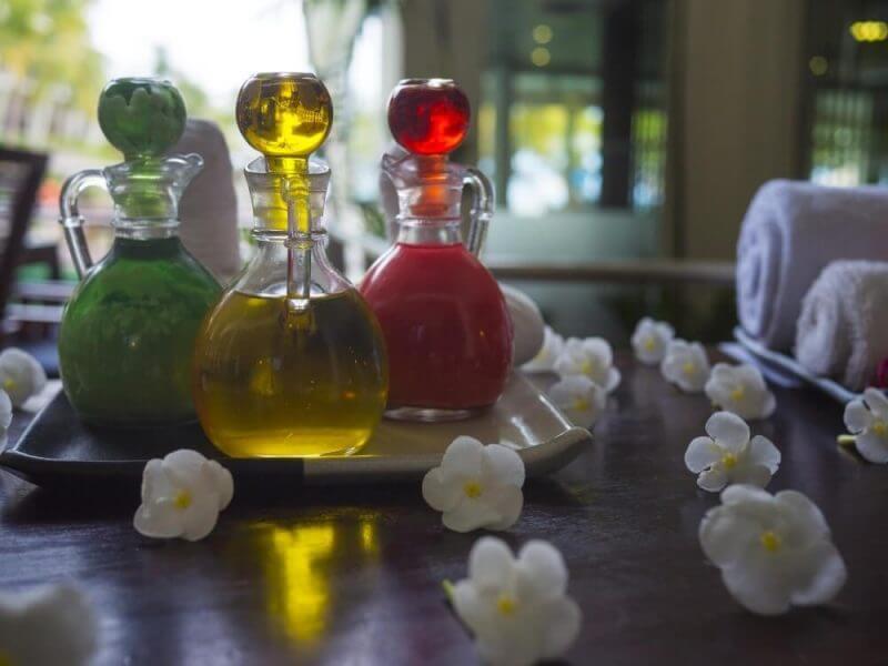 substance in glass bottles