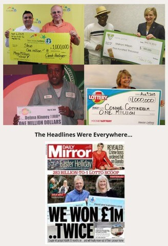 different photos of different people winning the lottery multiple times along with a headline of daily mirror showing a couple holding a winning check