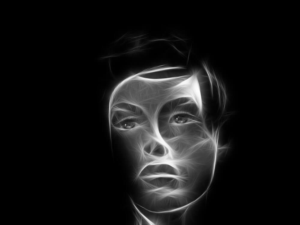 3D projection of a hman face