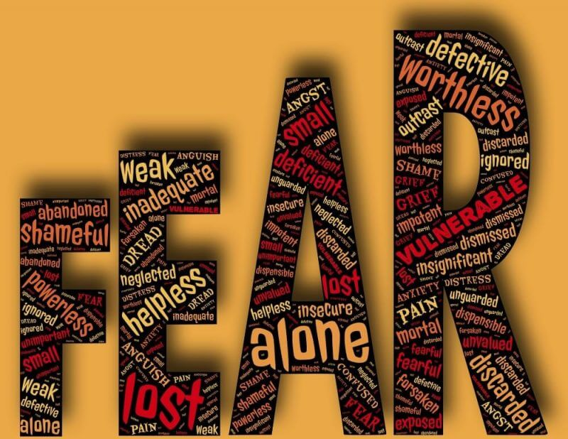 the word fear on a yellow background