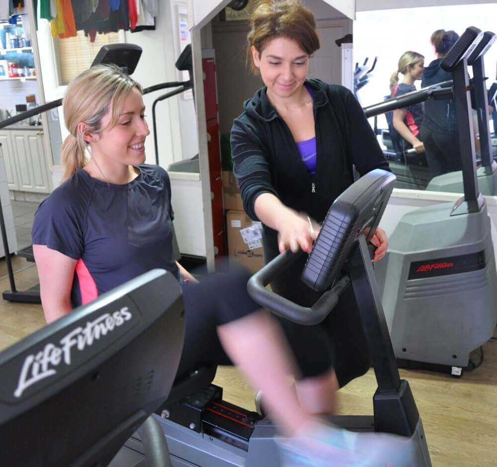 two ladies working out