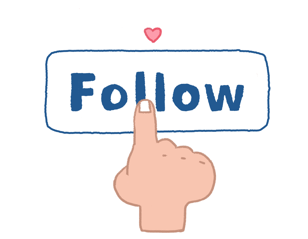 a finger cliking the follow icon