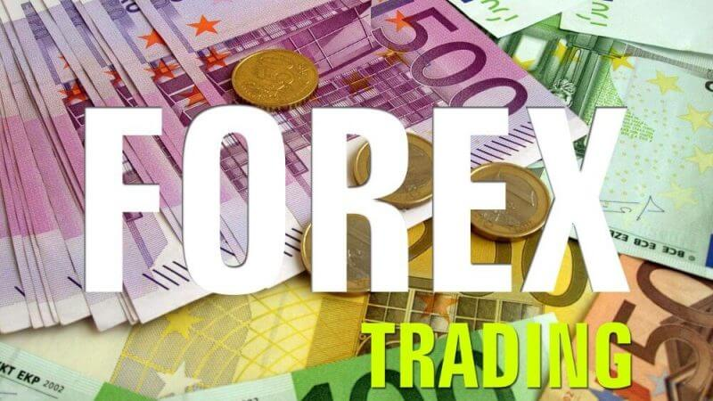 money in the background and the words forex trading