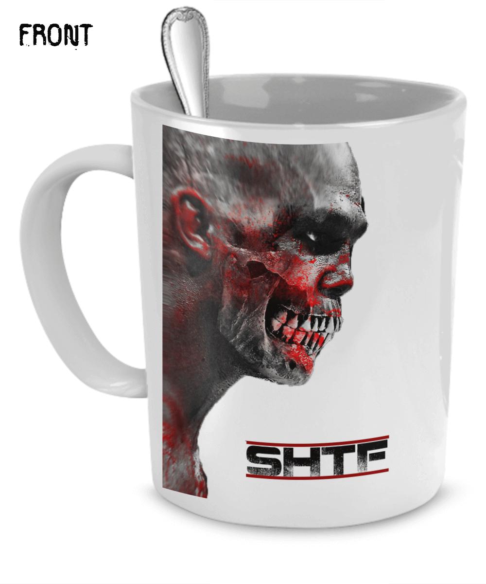 a mug with a skull print on it
