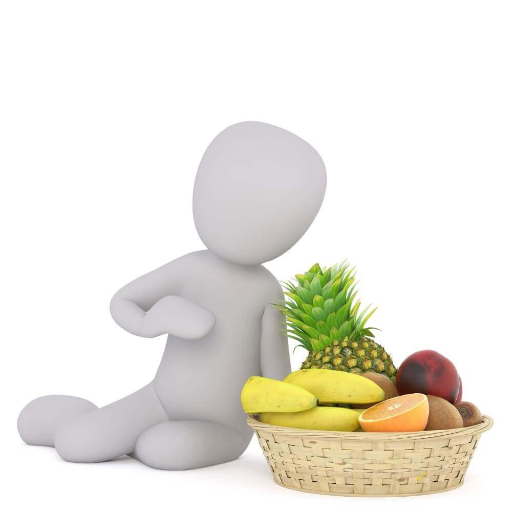 model and basket of fruits