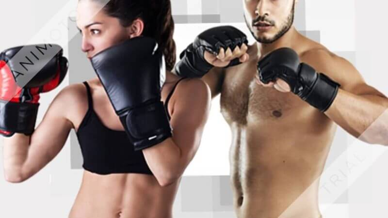two people in boxing clothing