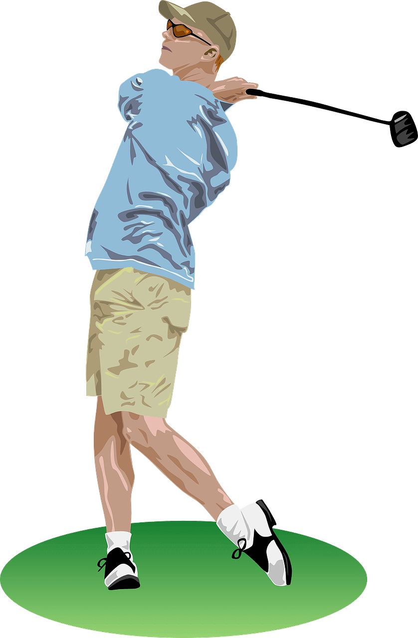 image of a man swing a golf swing