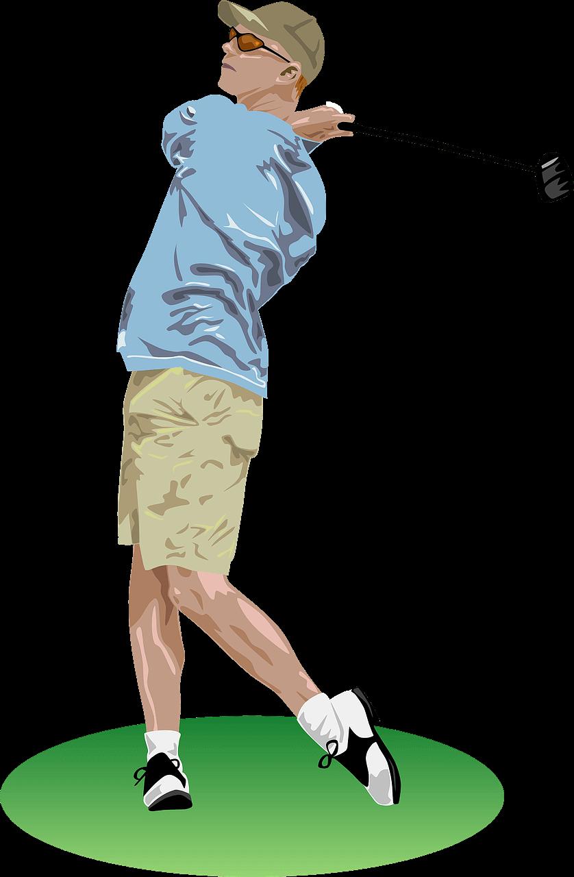 image of a man swing a golf swing