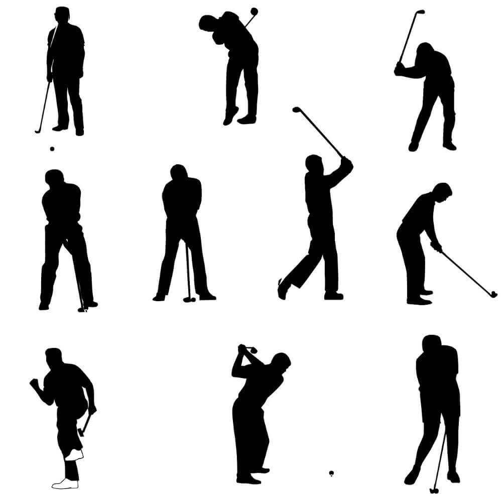 shadows of men doing different golf swings