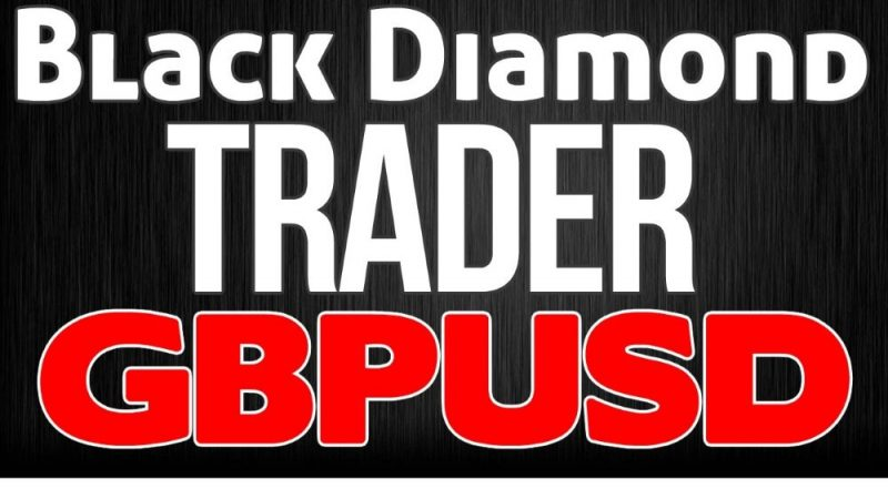 black diamond trader GBPUSD writen in large letters on a black background