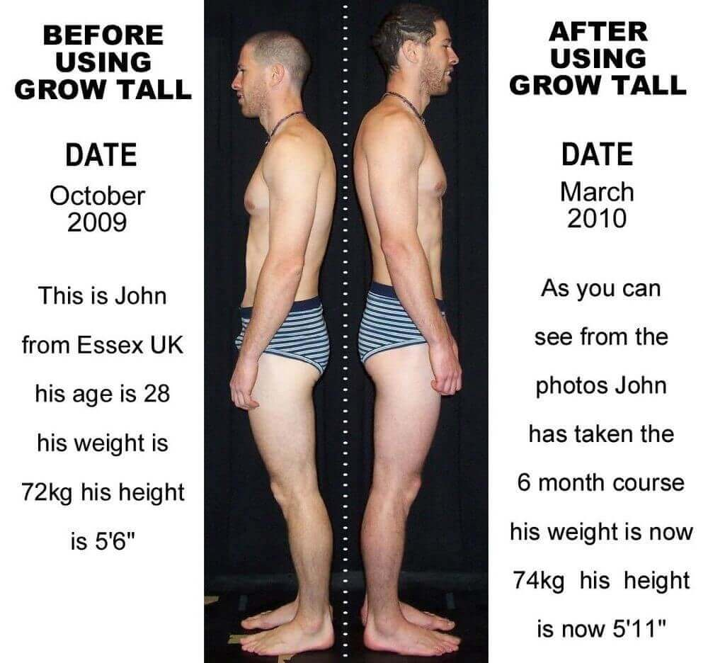 before and after growing taller and men in the picture