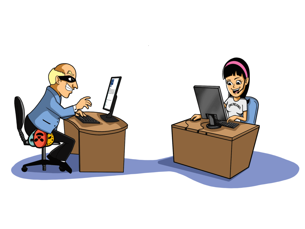 two cartoon people opposite each other working on their desks