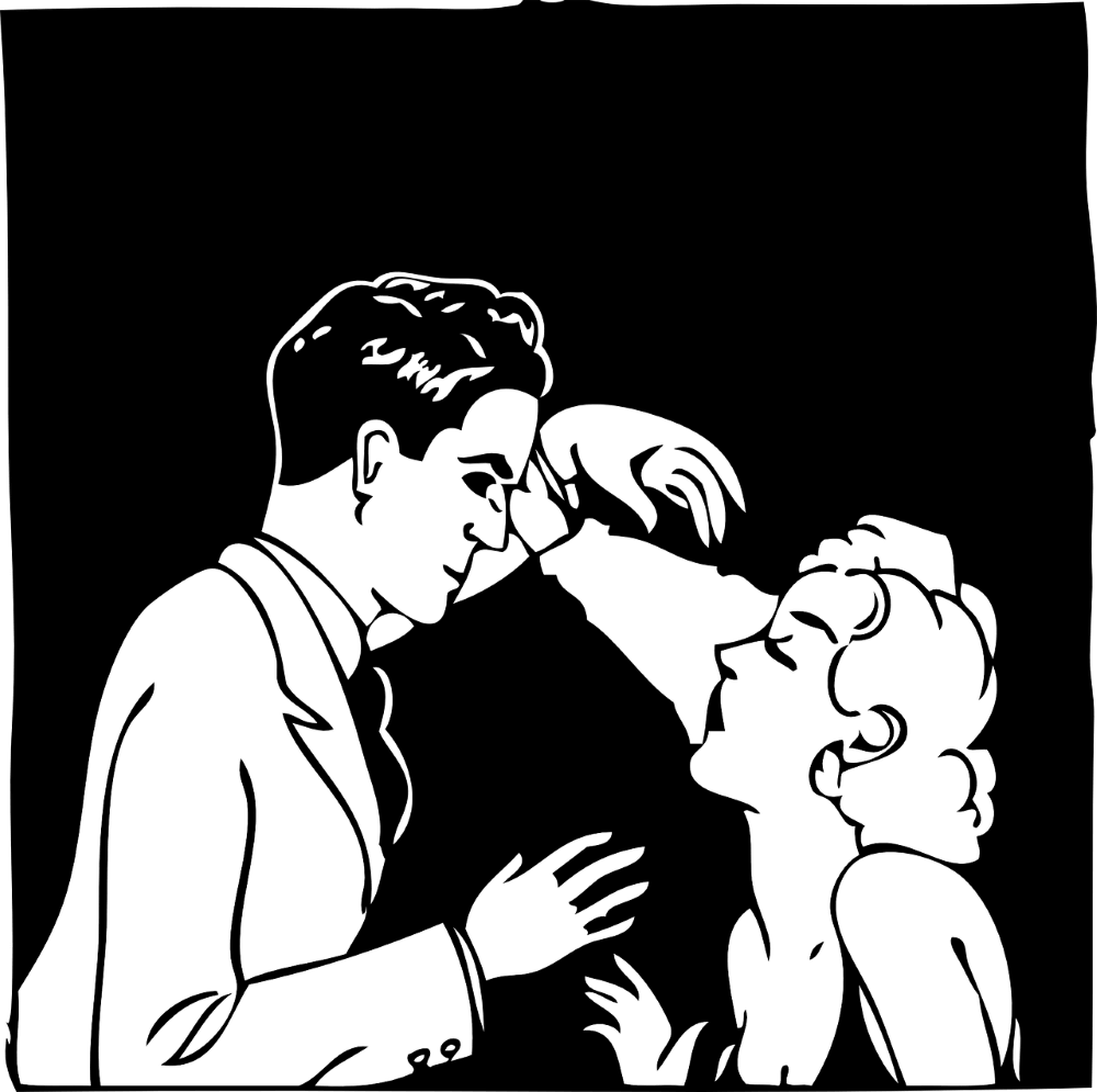 a woman and a man hodling each other in front of a black background
