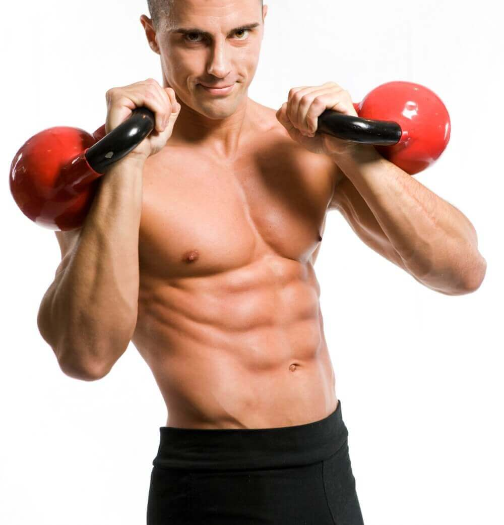 body builder with kettlebells