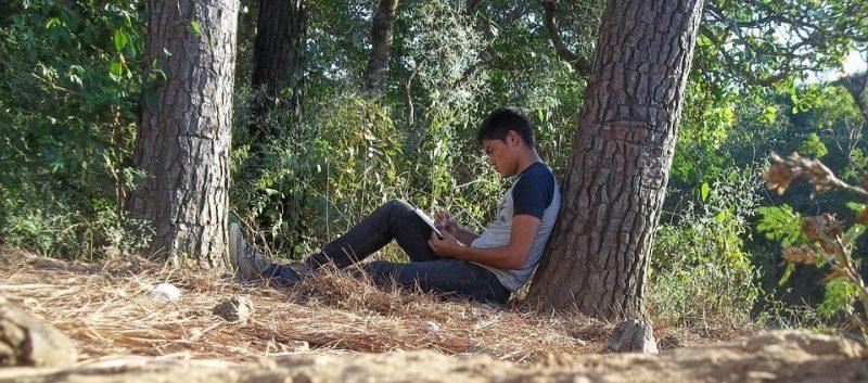 man under a tree