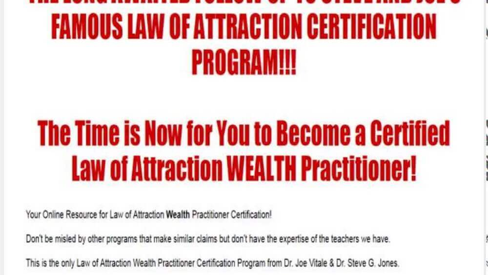 law of attraction for practitioners certification review