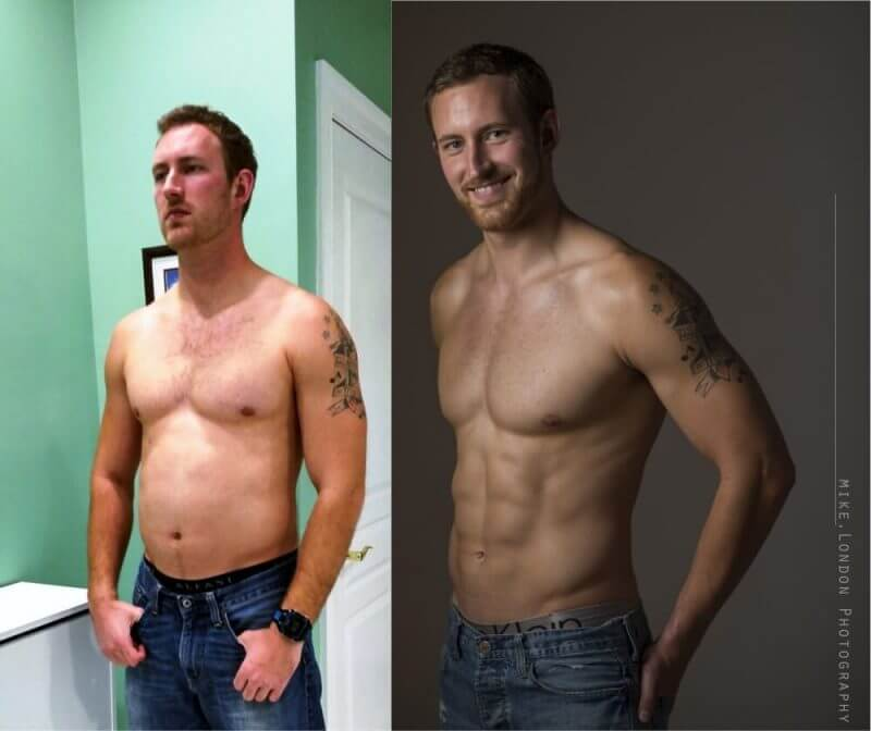 man showing his body before and after