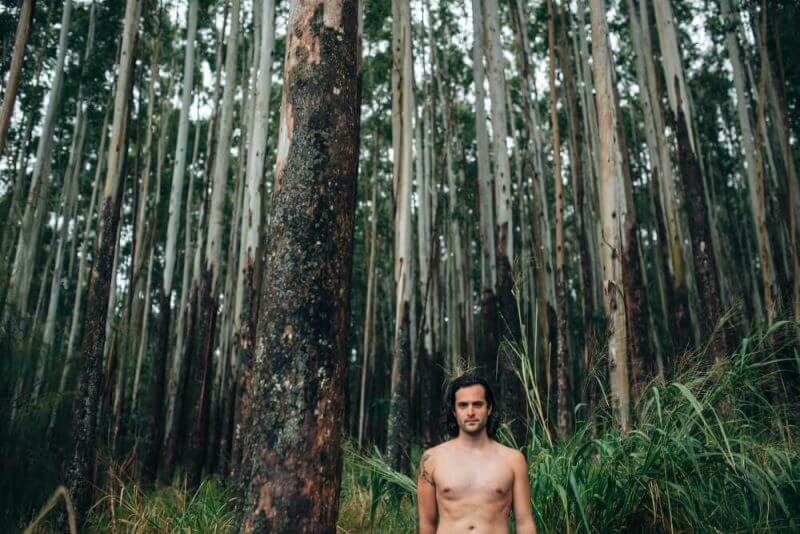 a man in a forest