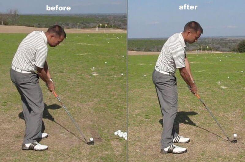 practising golf