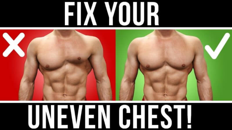 fix your uneven chest and a musculine man in the background