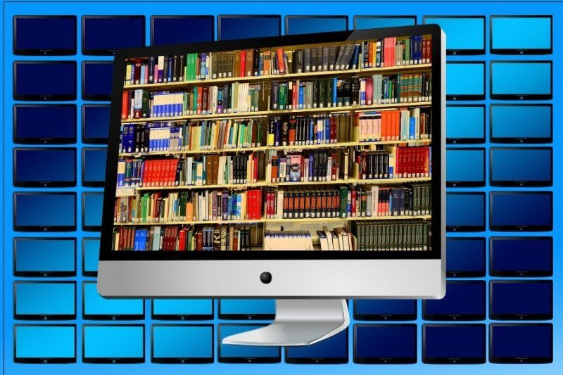 computer showing a library