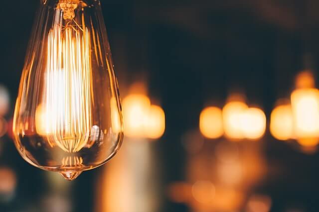 a turned on light bulb