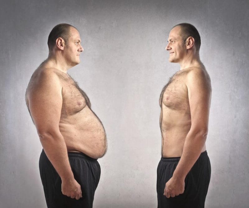 man showing his body before and after weight loss