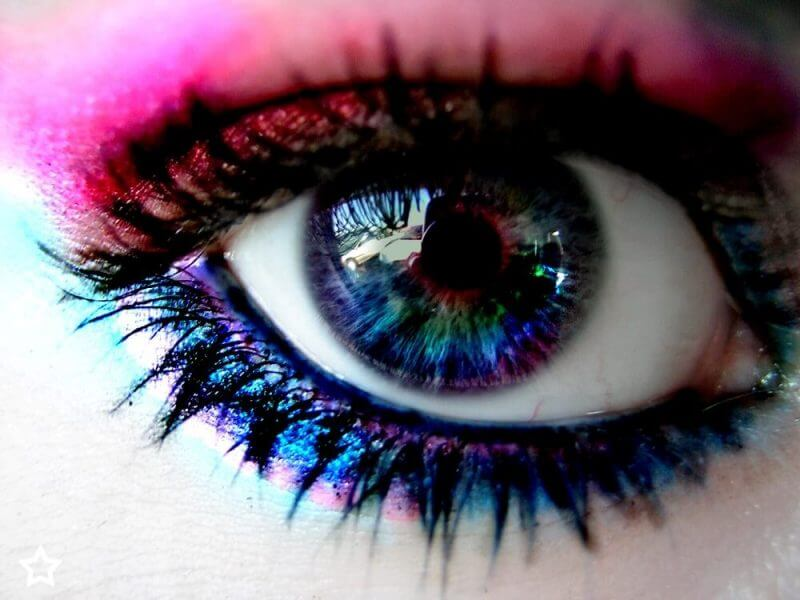 an eye painted in different colors