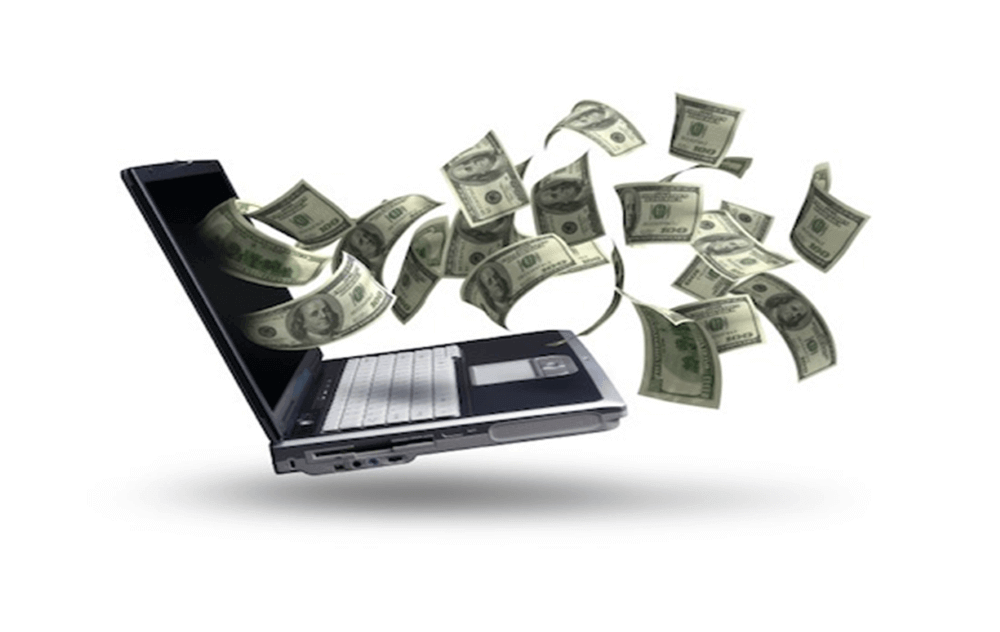 money and a laptop