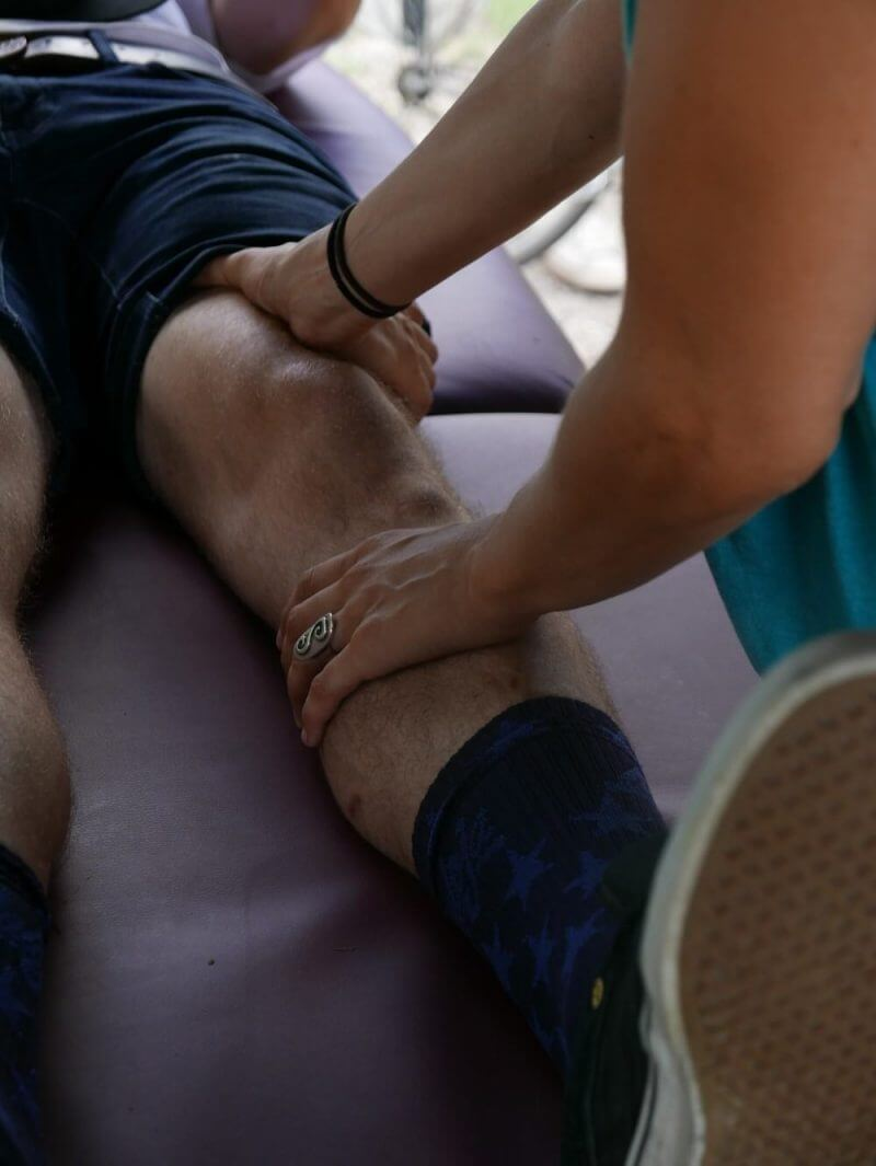 someone receiving knee treatment