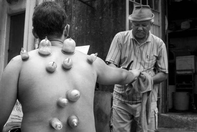 a man receiving skin treatment