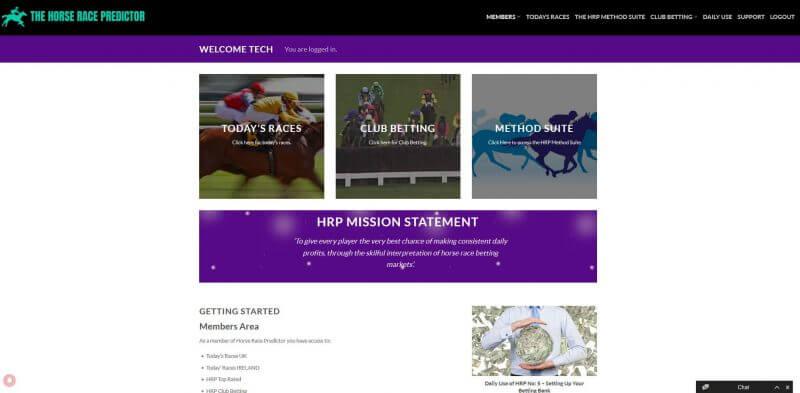 horse race predictor members area screenshot