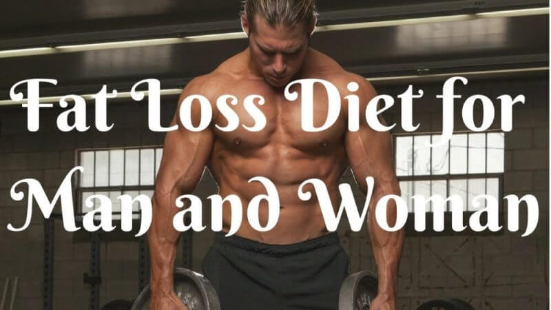 fat loss diet for man and woman and a musculine man in the background