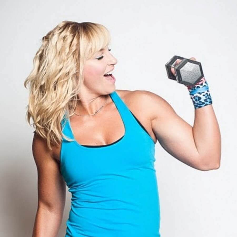 cute lady holding some weights