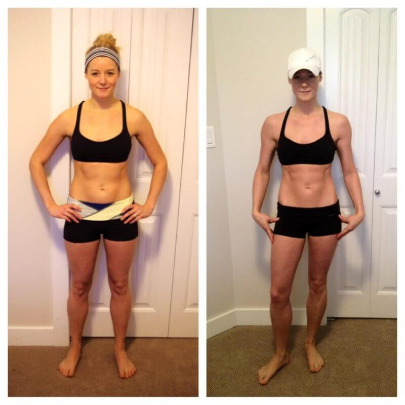 a woman before and after burning tummy