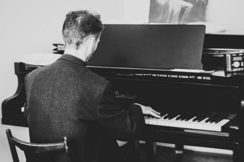a man playing piano