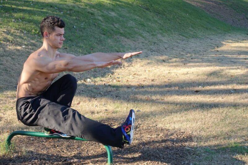 bodybuilder exercising