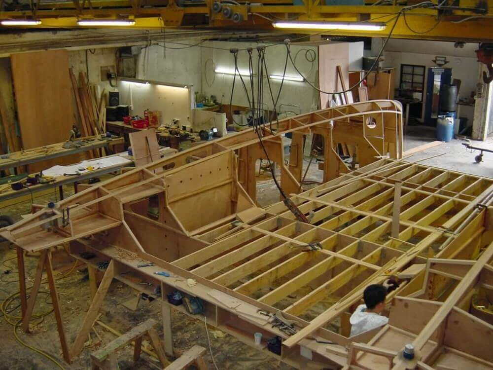 wooden boat on construction