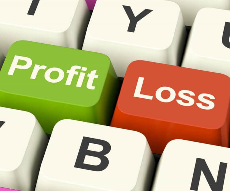 profit loss in green and red keyboard