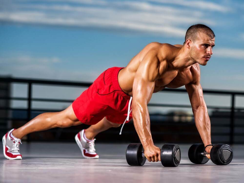 musculine man doing pushups