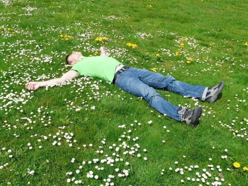a man lying down on a garden