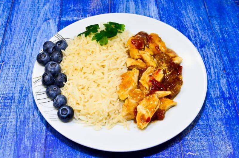 plate of food on a blue background
